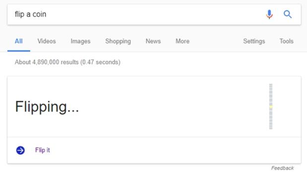 Google Easter Eggs - Flip A Coin.